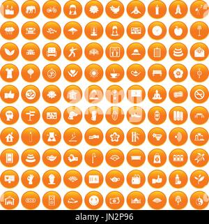 100 yoga studio icons set orange - Stock Photo