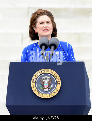 Lynda Bird Johnson Robb, daughter of former United States President Lyndon B. Johnson, makes remarks at the Let Freedom Ring ceremony on the steps of the Lincoln Memorial to commemorate the 50th Anniversary of the March on Washington for Jobs and Freedom Credit: Ron Sachs / CNP