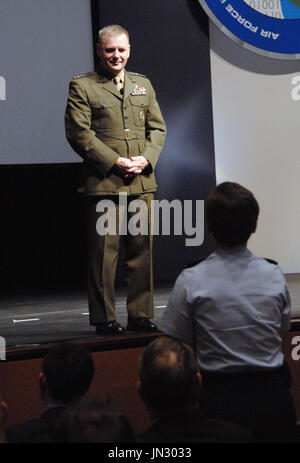 United States Marine Corps General James E. Cartwright, vice chairman of the Joint Chiefs of Staff, speaks at the Air Force Information Technology Conference, August 24, 2009, in Montgomery, Alabama. Cartwright is a target of a Justice Department investigation into a leak of information about a covert U.S.-Israeli cyberattack on IranÕs nuclear program. Mandatory Credit: Monique Randolph / DoD via CNP
