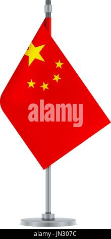 flag design. chinese flag on the metallic pole. isolated template, Powerpoint templates