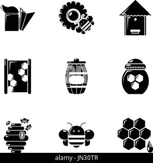 Beekeeping tools icons set, simple style - Stock Photo