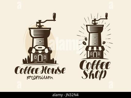 Coffee, espresso logo or label. Element for design menu restaurant or cafe. Handwritten lettering, calligraphy vector - Stock Photo