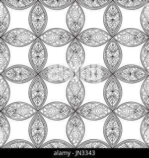 Abstract floral ethnic pattern. Geometric ornament. Oriental seamless background. - Stock Photo