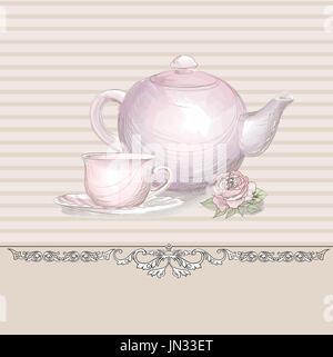 Tea time vintage background. Hand drawn poster or menu design - Stock Photo