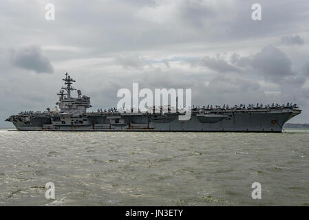 US Navy nuclear powered warship, the aircraft carrier USS George H W Bush on a visit to Portsmouth, UK by the United - Stock Photo