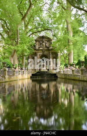 The Medici Fountain, monumental fountain in the Jardin du Luxembourg in the 6th arrondissement in Paris, France. - Stock Photo