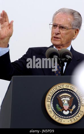 Coronado, Calif. (Aug. 30, 2005) - Jerry Coleman, World War II veteran and commentator for the San Diego Padres baseball team, delivers opening remarks for a ceremony commemorating the 60th anniversary of the allied victory over Japan (V-J Day) during World War II. The ceremony was held on board Naval Air Station North Island and was attended by area service members.  Mandatory Credit:  Anthony W. Walker / US Navy via CNP