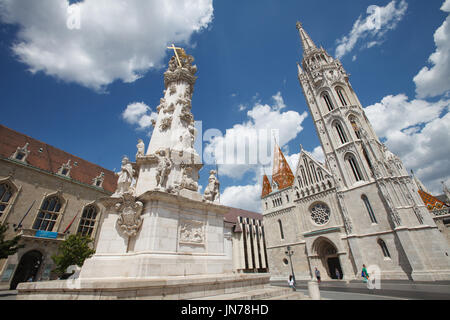 Marian and Holy Trinity columns and Church of St. Matthias. Budapest, Hungary - Stock Photo