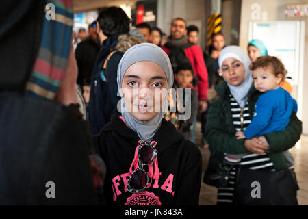 Munich, Germany - September 8th, 2015: Refugees from Syria, Afghanistan and Iraq arriving at the mainstation in - Stock Photo