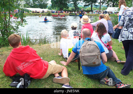 Royal Welsh Show July 2017 visitors watch a watersport demonstration at the Royal Welsh Show Builth Wells Wales - Stock Photo
