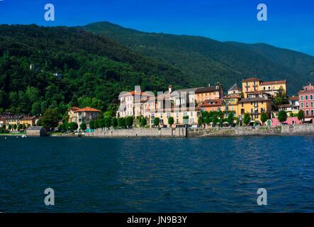 View of the old town promenade of Cannobio - Lago Maggiore, Verbania, Piemont, Italy - Stock Photo