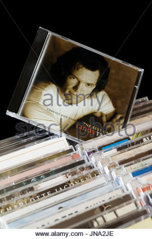 Forever and Ever, Randy Travis CD pulled out from among rows of other CD's, Dorset, England - Stock Photo