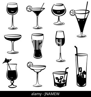 Glass vector silhouette collection. Set of different cocktail drinks isolated on white background. Cocktail party - Stock Photo