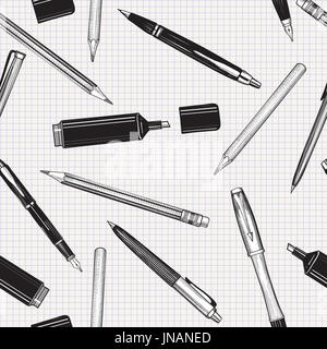 Pen set seamless pattern. Hand drawn vector. Pencils, pens and marker collection isolated over paper tiled background. - Stock Photo