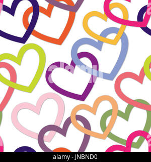 Love heart tiling background. Romantic seamless pattern with hearts. Great for Valentine's Day, Mother's Day, baby - Stock Photo