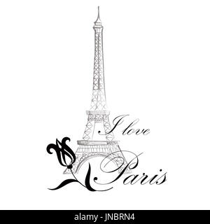 Paris sign. French famous landmark Eiffel tower. Travel France label. Paris architectural icon with lettering - Stock Photo