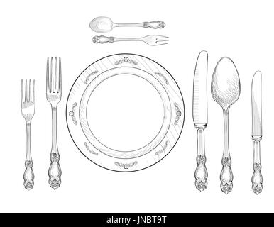 Set tables in restaurant; Table setting set. Fork Knife Spoon plate sketch set. Cutlery hand  sc 1 st  Alamy & Table setting set. Fork Knife Spoon sketch set. Cutlery hand Stock ...