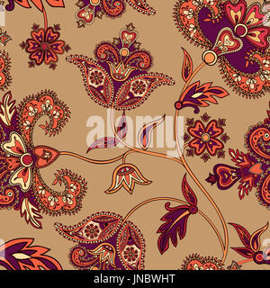 Asian seamless pattern. Floral background. Wonderland flowers - Stock Photo
