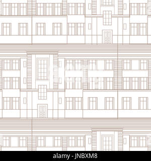 Building facade seamless pattern. City architectural blueprint line background design element - Stock Photo