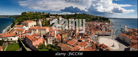 Aerial panorama of Piran Slovenia on Adriatic sea with marina and Tartini Square with Courthouse and Tartini monument - Stock Photo