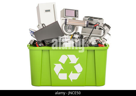 recycling trashcan with household and appliances , 3D rendering isolated on white background - Stock Photo