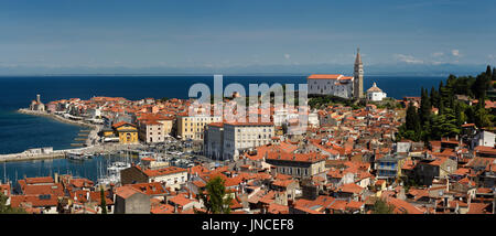 Panorama of Piran Slovenia on Gulf of Trieste Adriatic sea from the Cape Madonna St Clement church to St George's - Stock Photo