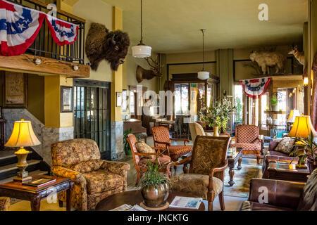 Lobby of the historic Murray Hotel in Livingston, Montana. - Stock Photo