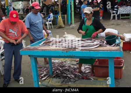 Beach fishing market, Puerto Lopez, Ecuador - Stock Photo