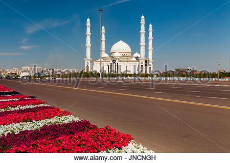 Hazrat Sultan Mosque, Kazakhstan, Astana - Stock Photo
