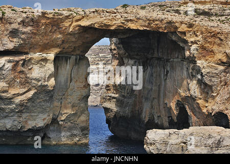 The Azure Window on the island of Gozo before it collapsed - Stock Photo