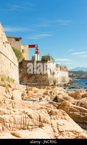 Ajaccio, citadel with white lighthouse tower, Corsica , France - Stock Photo