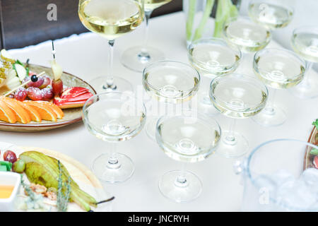 Wedding table setting in restaurant - Stock Photo