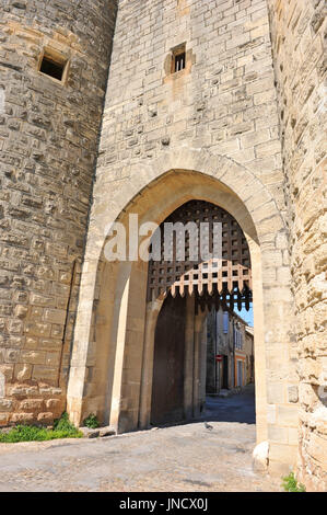 picture of a fortification door of Aigues Mortes - Stock Photo