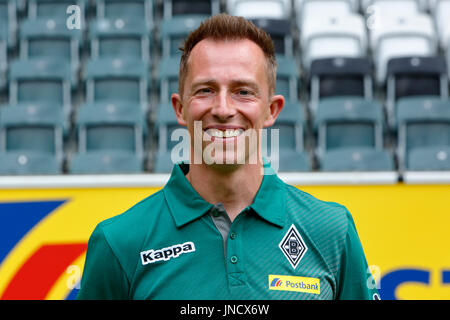 football,Bundesliga,2017/2018,Borussia Moenchengladbach,press photo shooting,portrait,physiotherapist Adam Szordykowski - Stock Photo