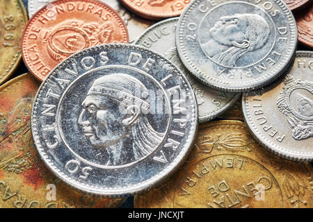 Close up picture of Honduran lempira coins, shallow depth of field. - Stock Photo