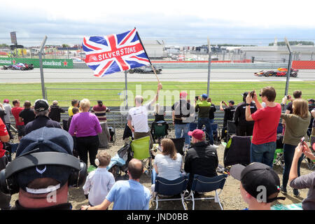 Silverstone Flag at Formula1 racing circuit - Stock Photo