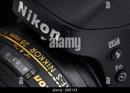 Warsaw, Poland - December 31, 2016: Digital SLR professional Nikon camera with Nikkor lens. Close-up view. Image - Stock Photo