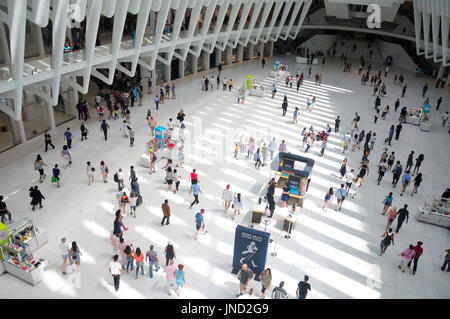 June 11, 2017.  New York City, New York.  People walking around within the newly completed world trade center transportation - Stock Photo