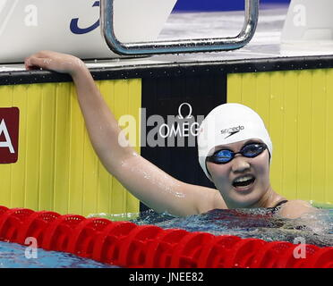 Budapest. 29th July, 2017. China's Li Bingjie reacts after the women's 800m freestyle swimming final at the 17th - Stock Photo