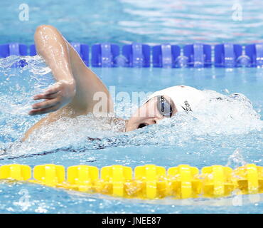 Budapest. 29th July, 2017. China's Li Bingjie competes during the women's 800m freestyle swimming final at the 17th - Stock Photo