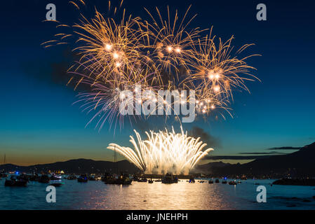 Vancouver, Canada. 29th July, 2017. Fireworks prepared by the country of Japan for BC's largest live event called - Stock Photo