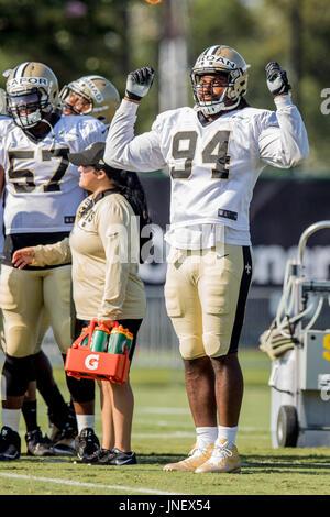 Metairie, Louisiana, USA. 30th July, 2017. New Orleans Saints defensive end Cameron Jordan (94) dances during drills - Stock Photo