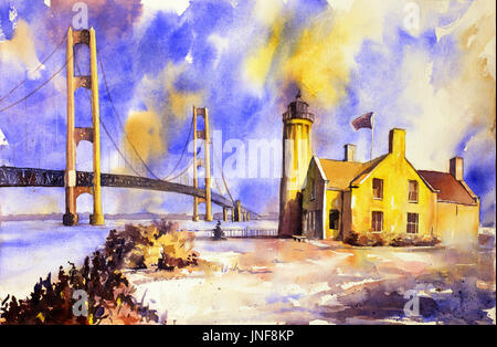 Watercolor painting of Mackinaw Bridge and lighthouse- Mackinaw Island, Michigan.  Machinaw Bridge painting lighthouse - Stock Photo