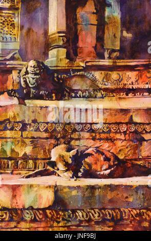 Fine art watercolor painting of dog lying on Hindu temple in Durbar Square of Kathmandu, Nepal.  Kathmandu Valley - Stock Photo