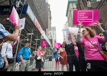 New York, United States. 29th July, 2017. Participants hold signs will protesting the repeal and replacement of - Stock Photo