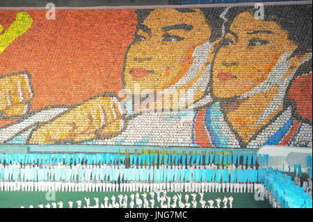 08.08.2012, Pyongyang, North Korea, Asia - A giant mosaic picture of a North Korean Taekwondo couple is displayed - Stock Photo