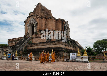 Wat Chedi Luang, a temple of the royal stupa, is a Buddhist temple in the historic centre of Chiang Mai, Thailand. - Stock Photo