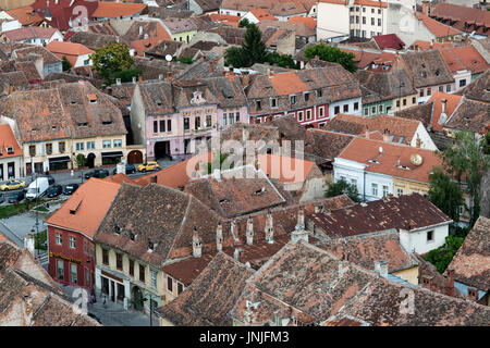 Rooftops of Lower Town, Sibiu, Romania - Stock Photo