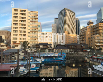 Tokyo, Japan - Jan 2, 2016. Buildings located Shinawa district in Tokyo, Japan. - Stock Photo