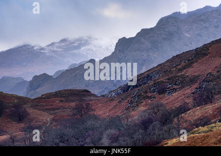 Mountain layers at Slioch and Loch Maree - Stock Photo